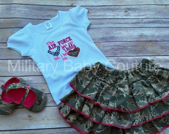 The Air Force Has My Daddy but I have His Heart Outfit-Air Force, Army, Navy, Marine Corps