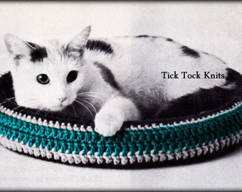 No.518 Crochet Cat Bed Pattern PDF Vintage - Pet Bed - Round Cat Nest - 1970's Retro Crochet Pattern