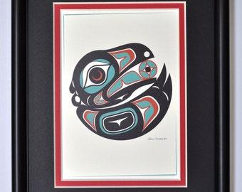 Framed 8 X 10 Art Card - Northwest Native American Raven 2
