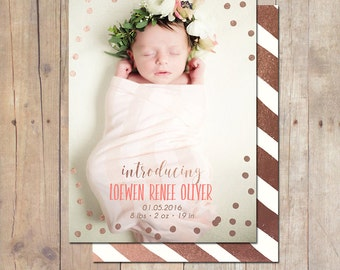 Confetti Rose Gold Birth Announcement Card Custom Photo Card 5x7 Professionally printed cards or Printable