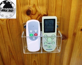 Wall Double Holder Mount Bracket Display for two AC Led Lights Lamp Remote Controls