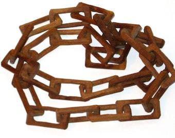 SALE 75.00 Vintage Folk Art carved wood chain links handmade whimsy