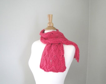 Pink Knit Scarf, Leaf Lace, Merino Silk Cashmere, Luxury Natural Fiber, Office, Scarflette, Short Scarf
