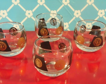 Mid Century Coin Roly Poly Glasses - Set Of 4 - 22K Gold - Cera