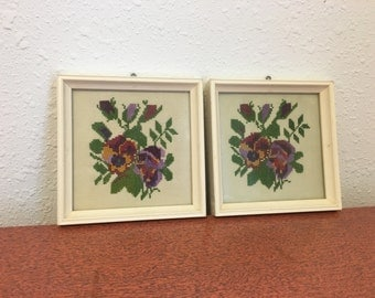 Vintage Needlepoint, Framed Cross Stitcj, Pansy Flowers, Shabby Chic Pictures