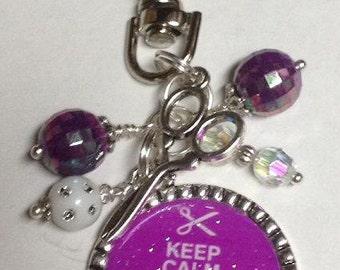 Keep Calm Scrapbook Beaded Scrapbooking Swivel Zipper Pull or Keyring Scissor Charm