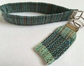 """Wrap Scrap Key and Chapstick Fob Duo, made from Upcycled Nejesa """"Golden Promises"""""""