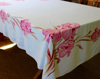 Vintage Linen Tablecloth Pink Irises California Hand Prints AS IS 66 x 52 Red White