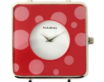 Sale!!! ~ Narmi Polka Dot Red Solid Bar Ribbon Watch Face 44 x 44 mm