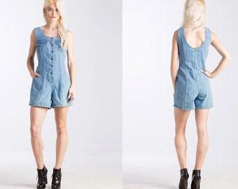 Vintage Denim 90s  Button Front Jean ROMPER Mini Dress // Pockets // Blue Jumpsuit // Shorts Top