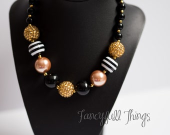 Chunky gold and black bubblegum necklace