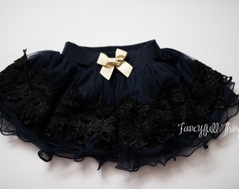 Girls navy tulle lace skirt tutu