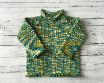 hand knit roll neck toddler sweater