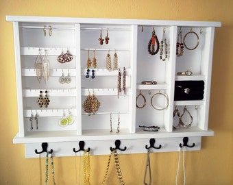 Wall Jewelry  Organizer , Jewelry Storage and Organization , Jewelry Display, Large Jewelry Organizer