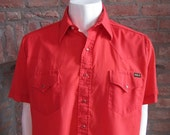 Mens XL cowboy shirt, Sears Western Wear, vintage, short sleeve, red with red pearl snaps (652)