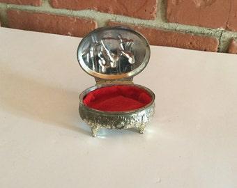 Vintage Trinket Box Ring Box Siver Tone Metal