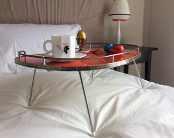 Retro Breakfast Tray - Orange with folding legs