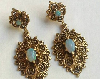 Vintage 14K Karat Gold Opal Open Work Filigree 1930s European Dangle Earrings