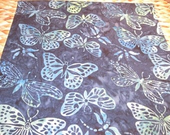 """14"""" x 14"""" Fine Batiks PILLOW COVER - Butterflies against Twilight Sky in aqua, turquoise and nautical blues"""