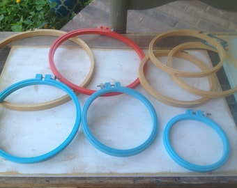 Vintage Wood and Plastic Embroidery Hoops, Vintage Needlecraft Supplies-Hoops