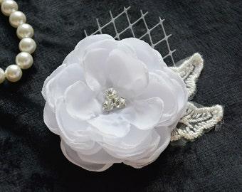 White Bridal Flower, White Wedding Hair Piece, Chiffon Flower Hair Clip, Hair Accessories, Bridesmaid, Hair Fascinator, Mother of Bride