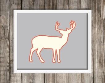Elk Art Print.  Modern Elk Silhouette Print.  Elk 8X10 Art Print ~ Digital Download.