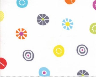 Hey Dot by Brigitte Heitland for Zen Chic & Moda - Candy - White - 1/2 Yard Cotton Quilt Fabric