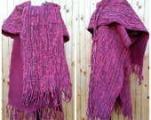 SALE of Felted wrap, poncho and large shawl with belt in violet pink coral red - merino wool & fancy yarn,handmade OOAK, one size, plus size