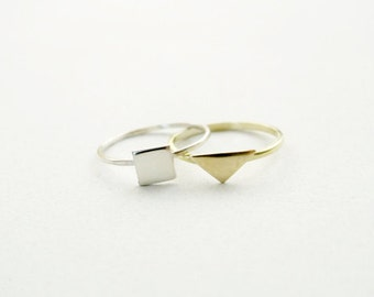 Silver Square Ring : 14k Gold Triangle Ring - Set of Two