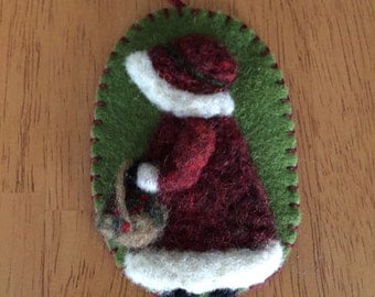 Beautiful Needle Felted Bonnet Girl With Basket Of Flowers