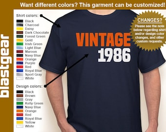 VINTAGE 1986 (or any year) 30th Birthday T-shirt — Any color/Any size - Adult S, M, L, XL, 2XL, 3XL, 4XL, 5XL