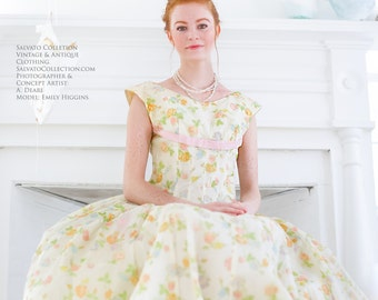 Sleeveless, Chiffon Floral Dress. // Vintage Paste Party Gown. - Prom. Wedding