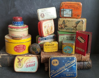 17 French Tins. Instant collection . Retro kitchen decor . Old Tins. Vintage Tins.