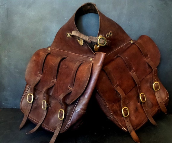 antique french saddle bag  horse saddle bag  pommel bag