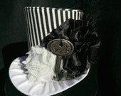 Black and White Striped Mad Hatter Mini Top Hat for Dress Up, Birthday, Tea Party or Photo Prop