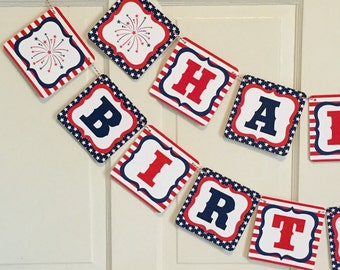 STARS AND STRIPES 4th of July Themed Party Happy Birthday or Baby Shower Banner Red White Blue-Party Packs Available