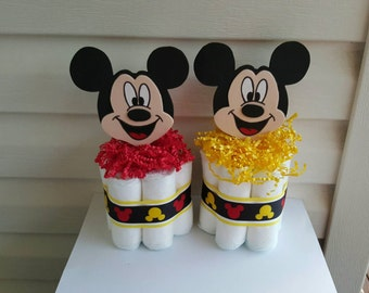 2 Mickey Mouse mini diaper cakes, baby shower centerpiece, decoration