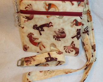 Handcrafted Crossbody Bag Kokopelli Southwest Themed Fabric   Adj Strap