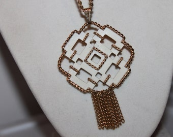 Large White Pendant Necklace/Pin with Tassel- AVON