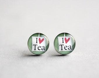 Tea lover post earrings, Surgical steel ear stud, Tiny earring studs
