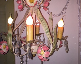 Vintage French Toleware 4 Arm Chandelier Plug In Chain Lamp