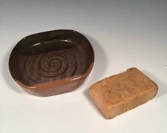 Pottery Soap Dish - Ceramic Flared Side Soap Dish - Coffee and Cream