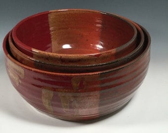 Mixing Bowl Set of 3 - Nesting Kitchen Mix Bowls - Red Jasper -Dining and Entertaining - Serving - Ceramics - Pottery - Stoneware