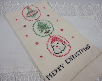 Rhinestone Star Studded Embroidered Vintage Linen Towel