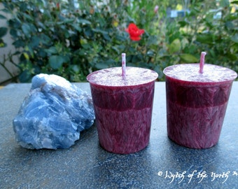 GARNET Crystal Spell Votives - Palm Wax Votives - Unscented Votives - Pagan Ritual Supplies, Wiccan Ritual Supplies, Altar Candles