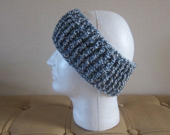 Blue Ear Warmers, Crochet Headbands, Winter Headbands, Manly Head Warmer, Ear Warmer for Men, Manly Ear Warmers, Crochet Ear Warmers