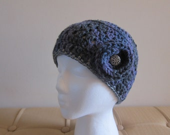 Purple and Grey Crocheted Beanie with Flower, Crocheted Beanies, Beanies for Women, Beanie with Flower Accent, Beanie for Girl, Beanie Hat