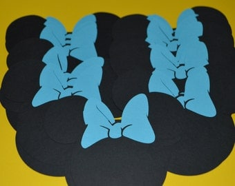 """Minnie Mouse Die Cuts (20) 4"""" with Turquoise Bows"""