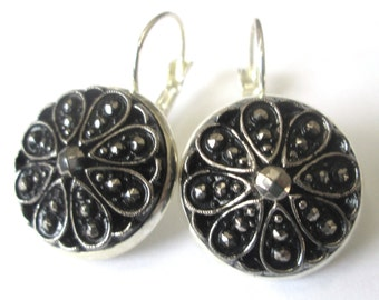 BLACK glass vintage button earrings, Czech glass buttons, silver lever backs