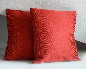 Orange red spiral pillow, elegant pillow cover, 16x16 inches, decorative pillows